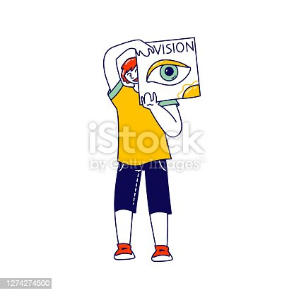 istock Happy Child Holding Card with Open Eye Isolated on White Background. Boy Show Vision One of Five Human Perceptions 1274274500
