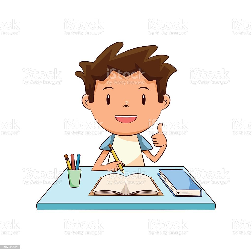 Happy child homework vector art illustration