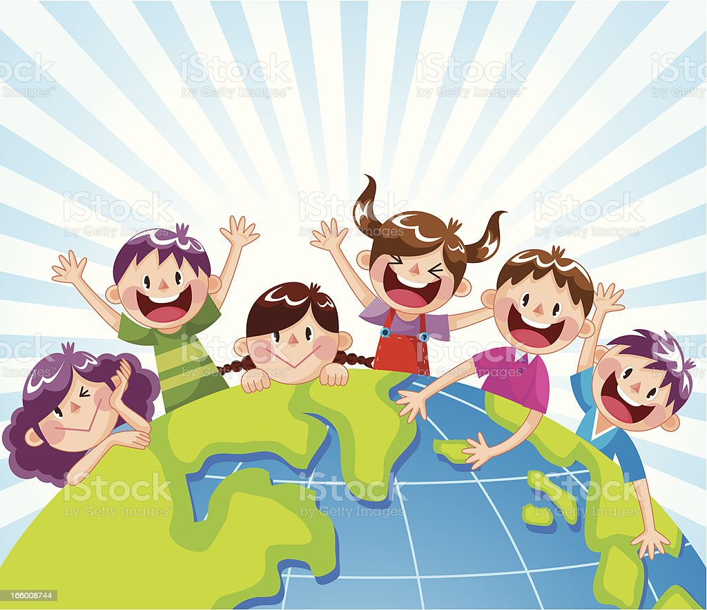 Happy Child in the World vector art illustration