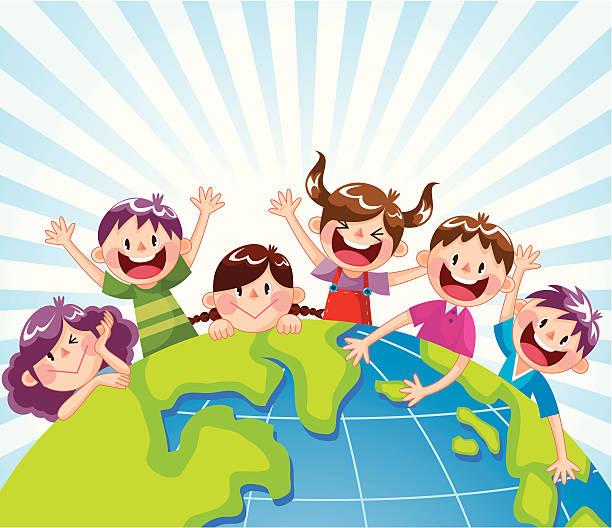 stockillustraties, clipart, cartoons en iconen met happy child in the world - kinderdag