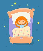 Happy child sleeping in bed at night. Little calm girl lying on white pillow under yellow blanket in bedroom asleep. Childhood at bedtime vector illustration. Good night sleep.