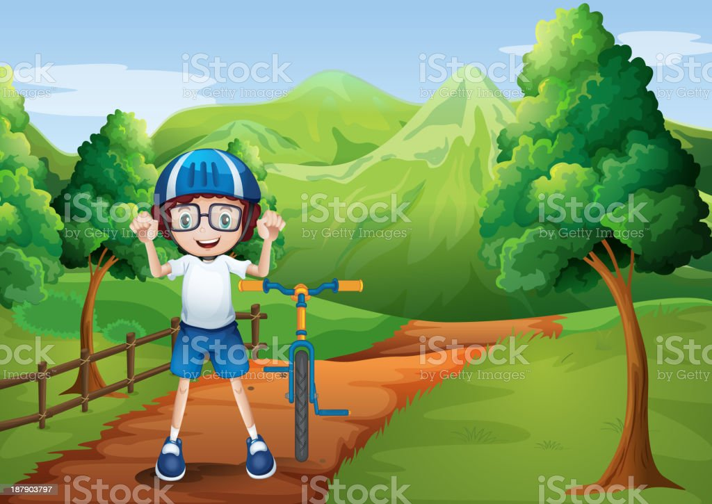 happy child with bike at the pathway royalty-free stock vector art