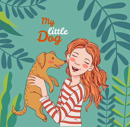 Happy child with funny dog. Cute girl with pet in the garden. Nature landscape background. Summer holidays illustration. Vacation time
