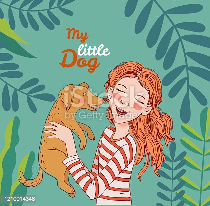 istock Happy child with funny dog. Cute girl with pet in the garden. Nature landscape background. Summer holidays illustration. Vacation time 1210014346