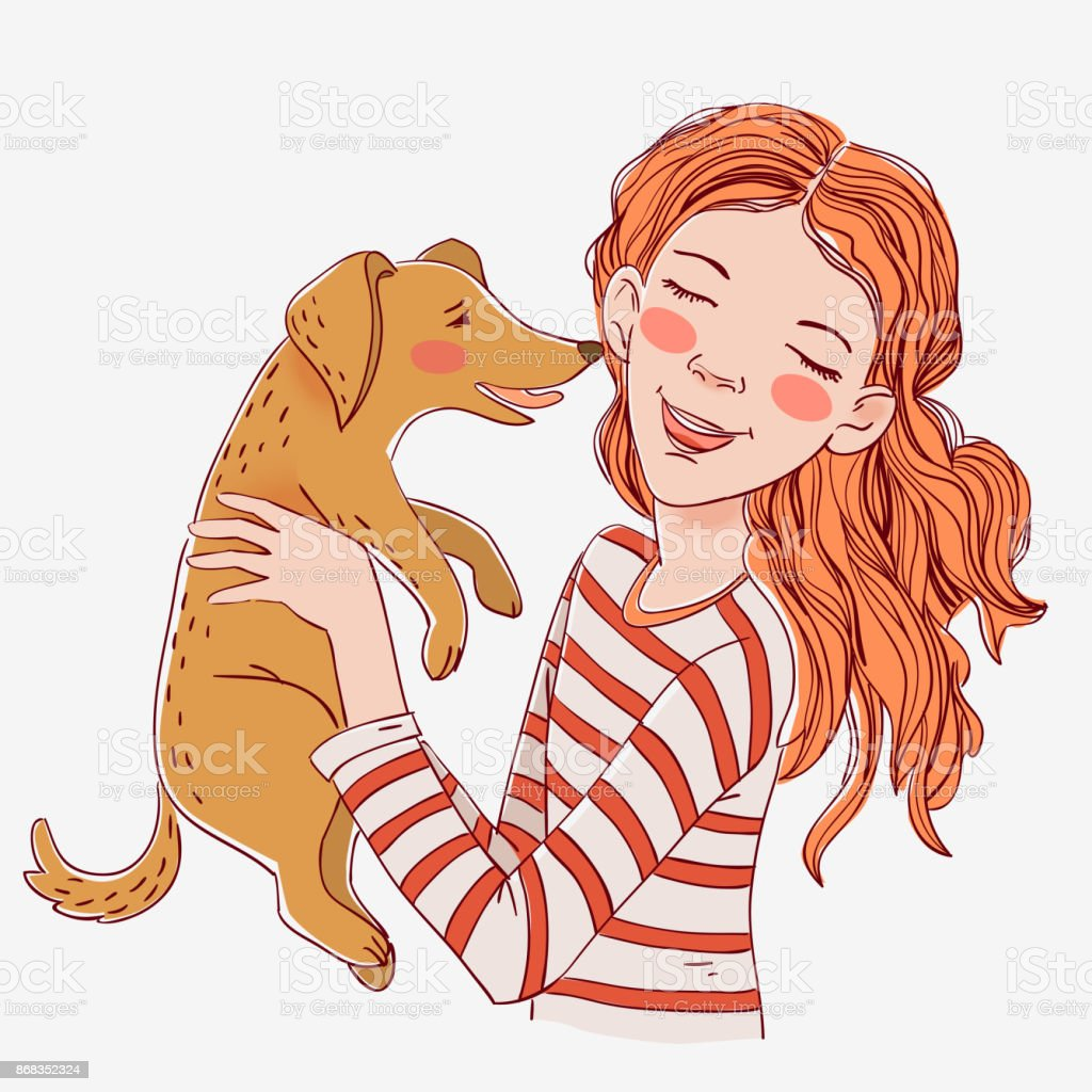 Happy child with funny dog. Cute girl with pet vector art illustration