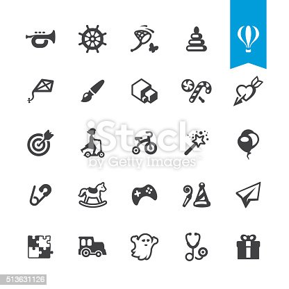 Happy childhood and toys related icons BASE pack #46