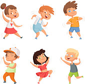 Happy childhood. Various funny dancing kids. Child little group, smile people characters. Vector illustration