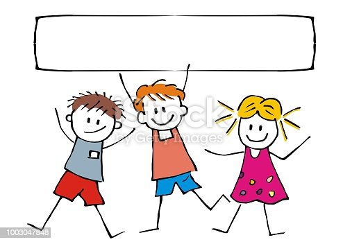 Happy children and banner, three cheerful kids on white background, vector funny illustration. Colorful hand-drawn postcard with inscription. Creative object. Back to school, welcome to school, summer holiday, hello holidays.