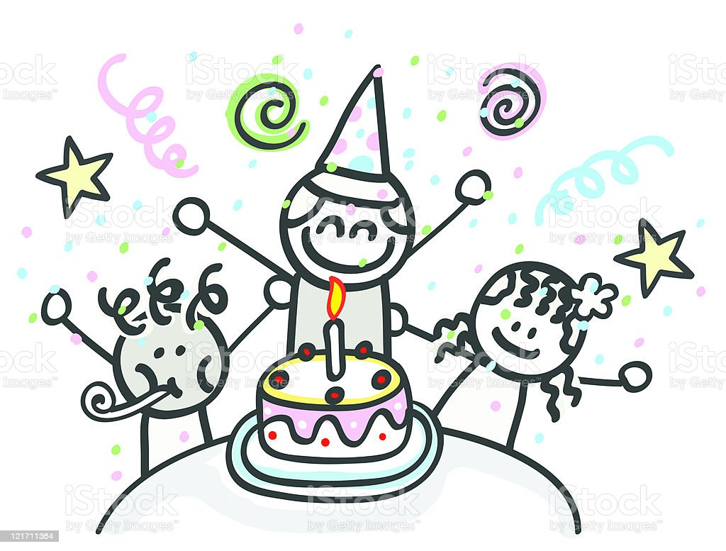 Happy Children At Birthday Party Cartoon Stock Illustration