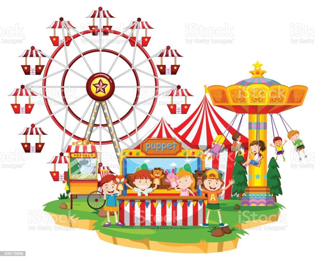 Happy children at circus vector art illustration