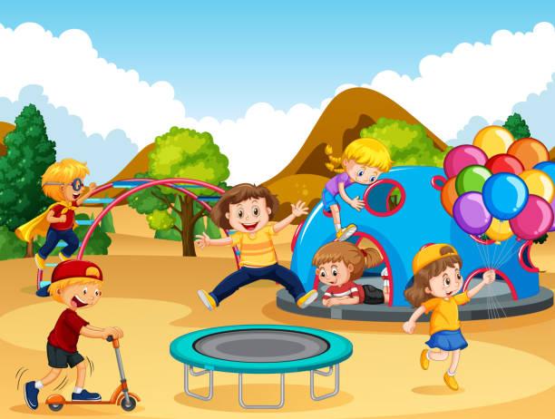 happy children at playground - monkey bars stock illustrations, clip art, cartoons, & icons