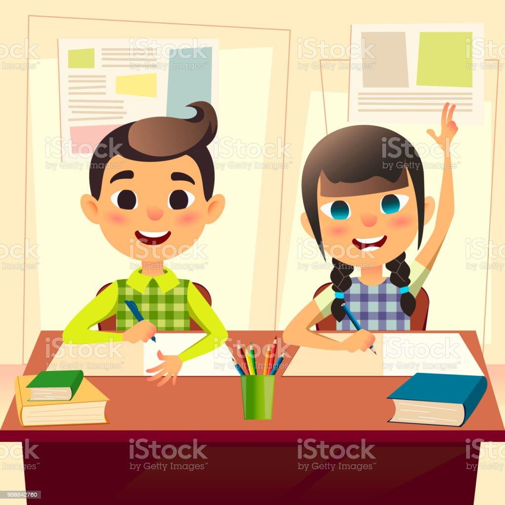 Glückliche Kinder An Schulbank Kinder In Der Schule In Der Klasse ...