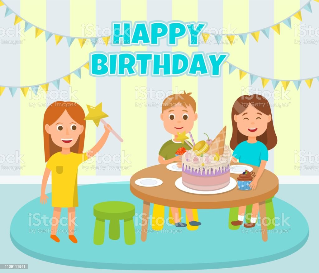 Happy Children Birthday Party Celebration Cartoon. Girls and Boy...