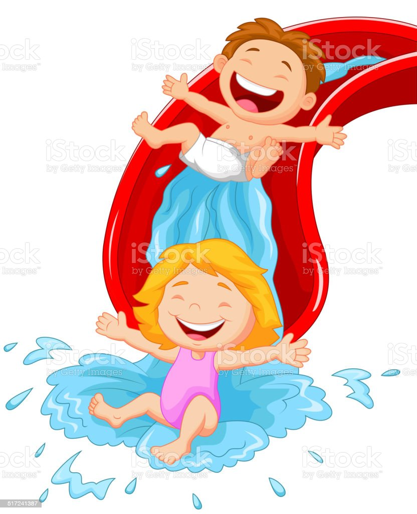 Enfants dessin anim heureux sur le toboggan aquatique - Dessin de toboggan ...