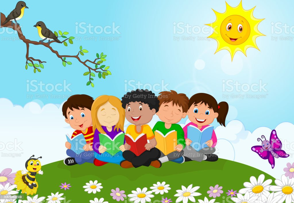 Children Reading Stock Vector Art More Images Of Baby: Happy Children Cartoon Sitting On The Grass While Reading