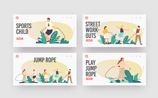 Happy Children Characters Exercise with Jump Rope Landing Page Template Set. Kids Summer Recreation, Outdoor Sparetime