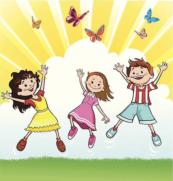 glückliche kinder verfolgen der schmetterlinge - freilauf stock-grafiken, -clipart, -cartoons und -symbole