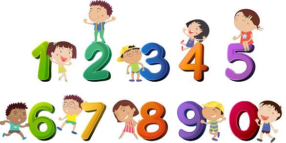 glückliche kinder zahlen zählen stock vektor art und mehr