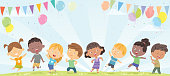 Vector happy children dancing
