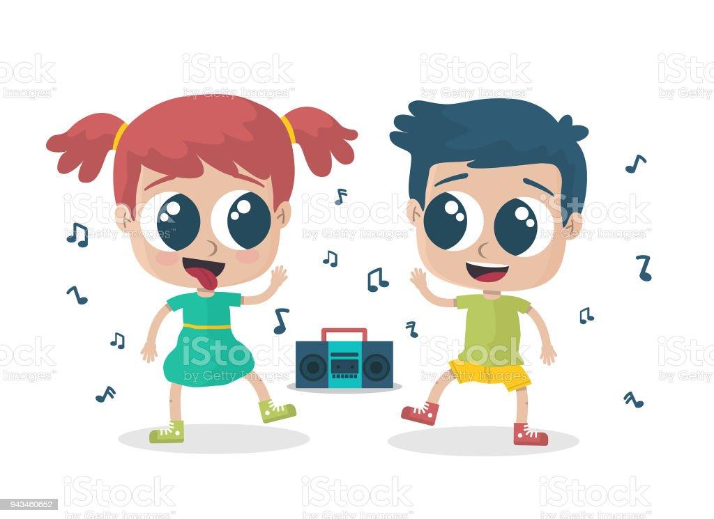Niños felices bailando - ilustración de arte vectorial
