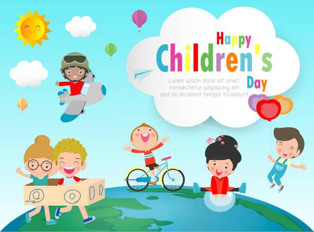 ilustrações, clipart, desenhos animados e ícones de fundo feliz do dia das crianças, grupo de miúdos que saltam no globo, poster do dia das crianças com ilustração feliz do vetor dos miúdos - dia das crianças