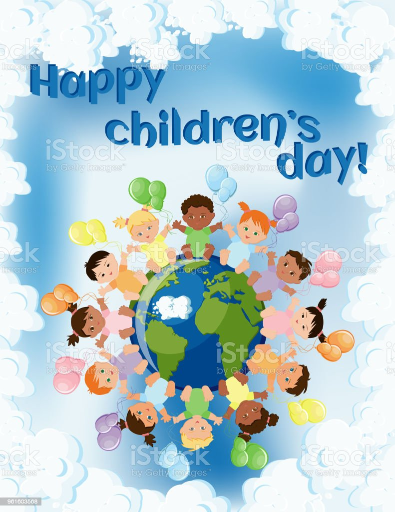 Happy Children Day Greeting Card Template With Kids Sitting Around