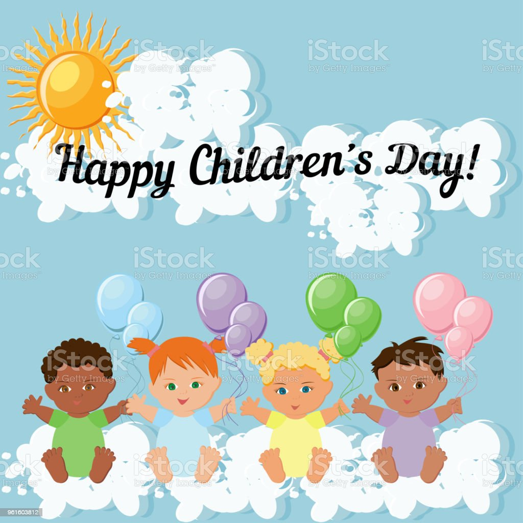 Happy Children Day Greeting Card Template With Kids Sitting On