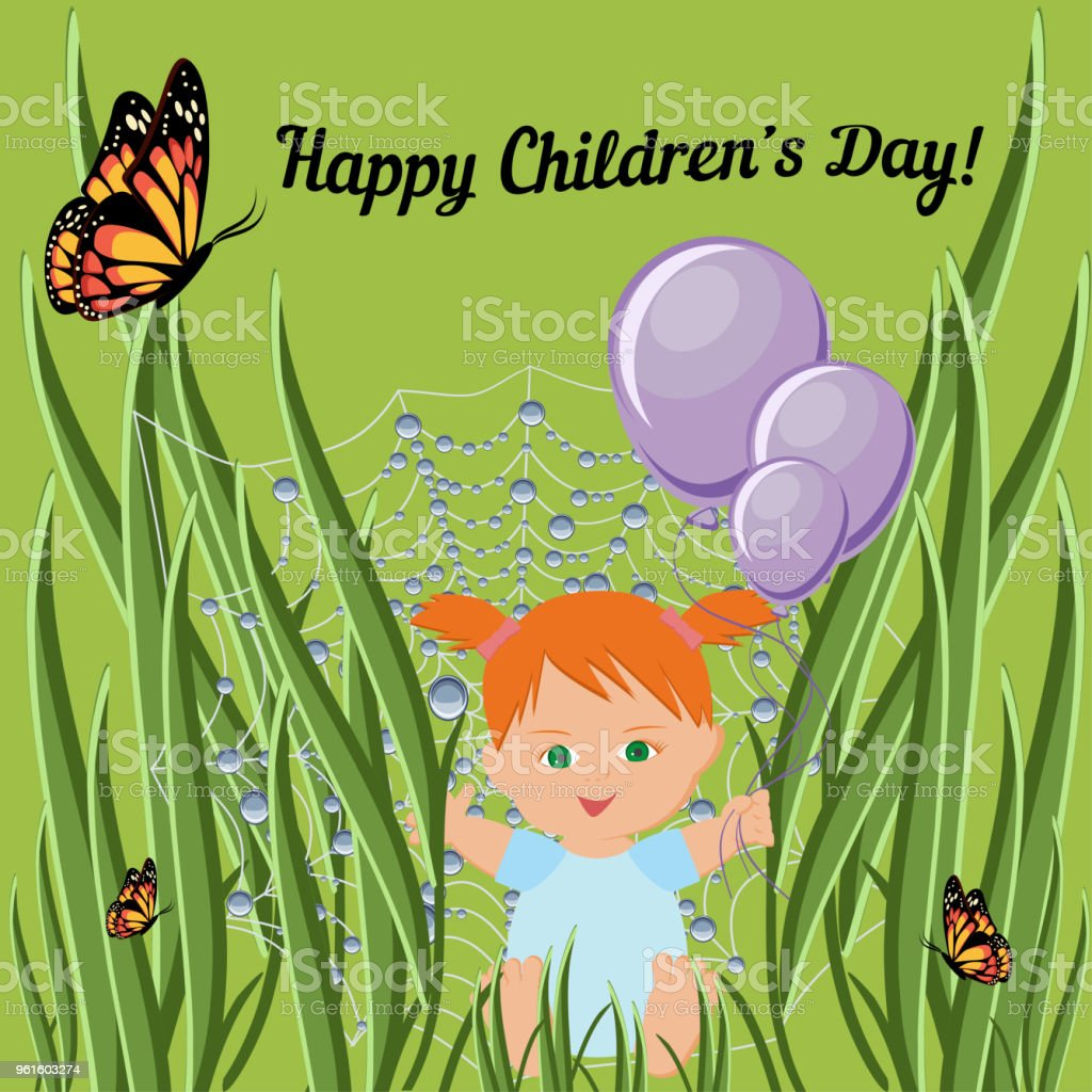 Happy Children Day Greeting Card Template With Red Hair Toddler Girl