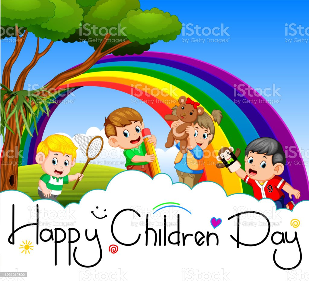 Happy children day poster with happy kids playing in the garden vector art illustration