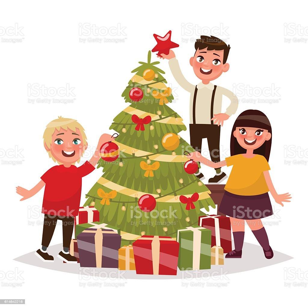 happy children decorate the christmas tree vector illustration