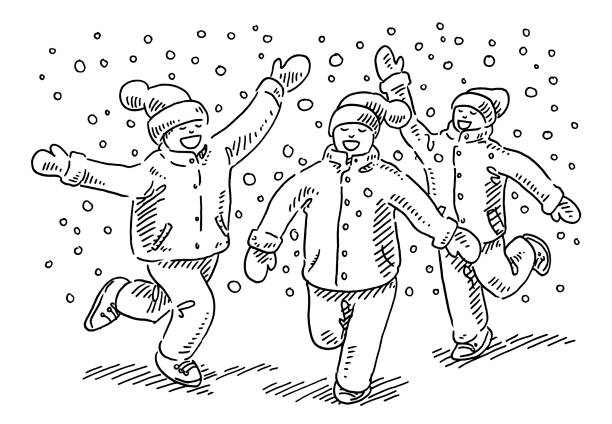 Happy Children Enjoying Winter Snow Drawing Hand-drawn vector drawing of three Happy Children Enjoying Winter Snow. Black-and-White sketch on a transparent background (.eps-file). Included files are EPS (v10) and Hi-Res JPG. running stock illustrations