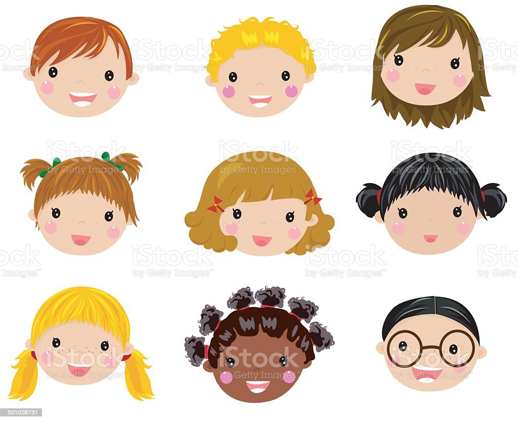 Happy Children Face Set Stock Vector Art & More Images Of