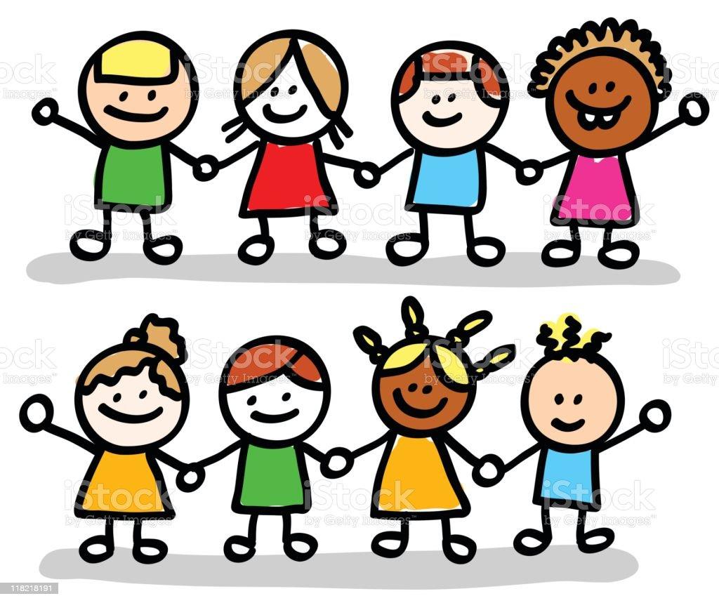 Ilustración De Niños Felices Amigos Las Niñas Y Niños Grupo