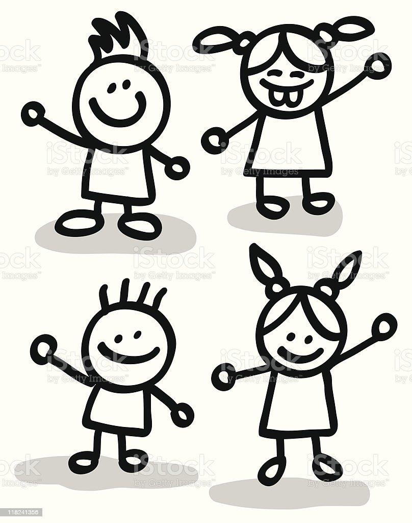 Ilustración De Grupo De Niños Felices Amigos Ilustración Dibujo