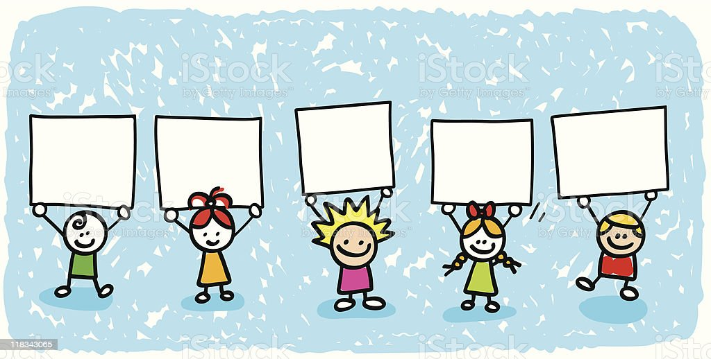 happy children friends group holding blank banner cartoon illustration