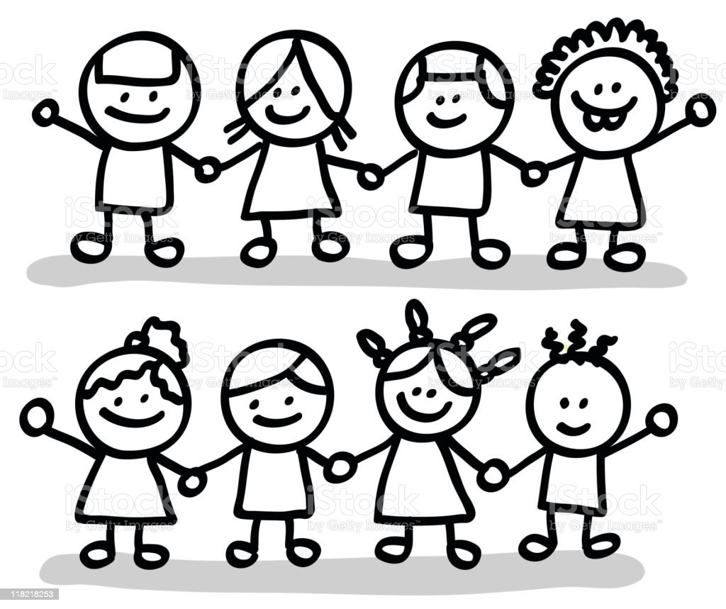 happy children friends group holding hands cartoon illustration