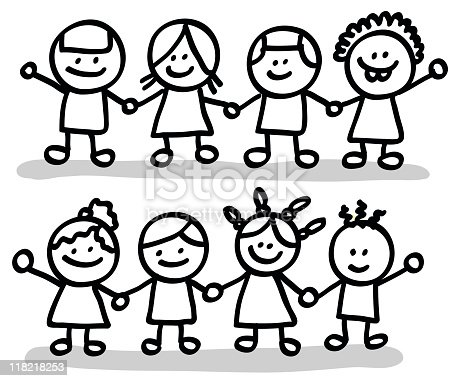 Happy Children Friends Group Holding Hands Cartoon ...