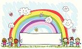 happy children friends holding empty banner, spring,summer cartoon illustration