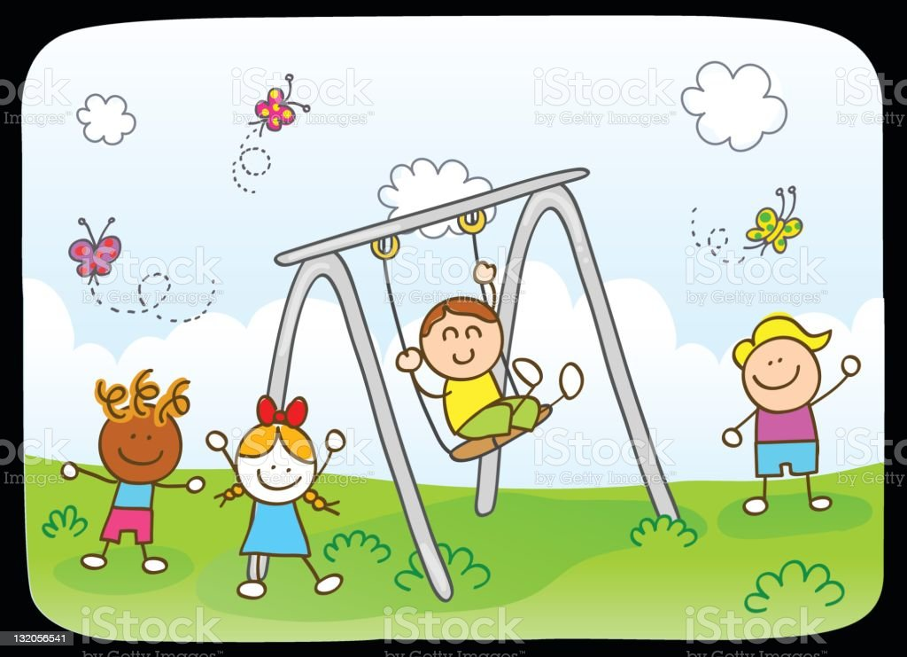 Baby Spring Schommel.Happy Children Friends Playing In Park Swing Spring Nature Cartoon