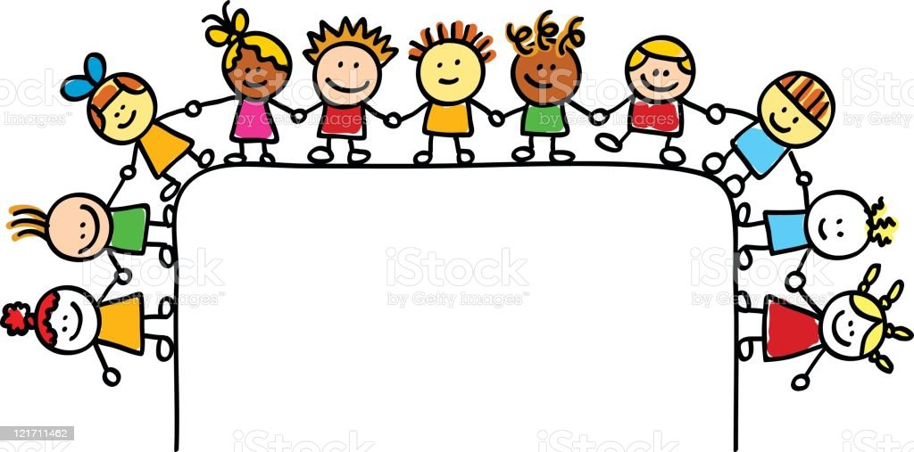 happy children group holding hands with blank banner cartoon illustration royalty-free stock vector art