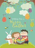 Happy children holding a basket of Easter eggs. Vector greeting card