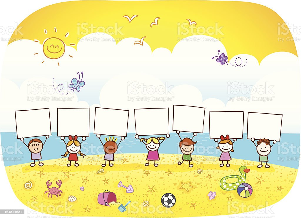 happy children holding banner at summer beach cartoon illustration vector art illustration