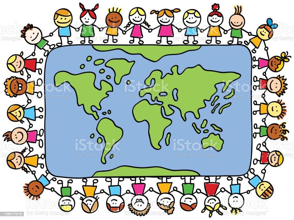 Happy children holding hands around world map cartoon stock vector happy children holding hands around world map cartoon royalty free happy children holding hands around gumiabroncs Images