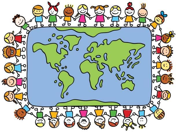 ilustraciones, imágenes clip art, dibujos animados e iconos de stock de happy children holding hands en mapamundi de dibujo animado - mapa de oriente medio