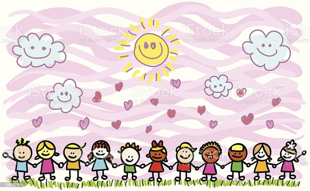 happy children holding hands in nature cartoon vector art illustration