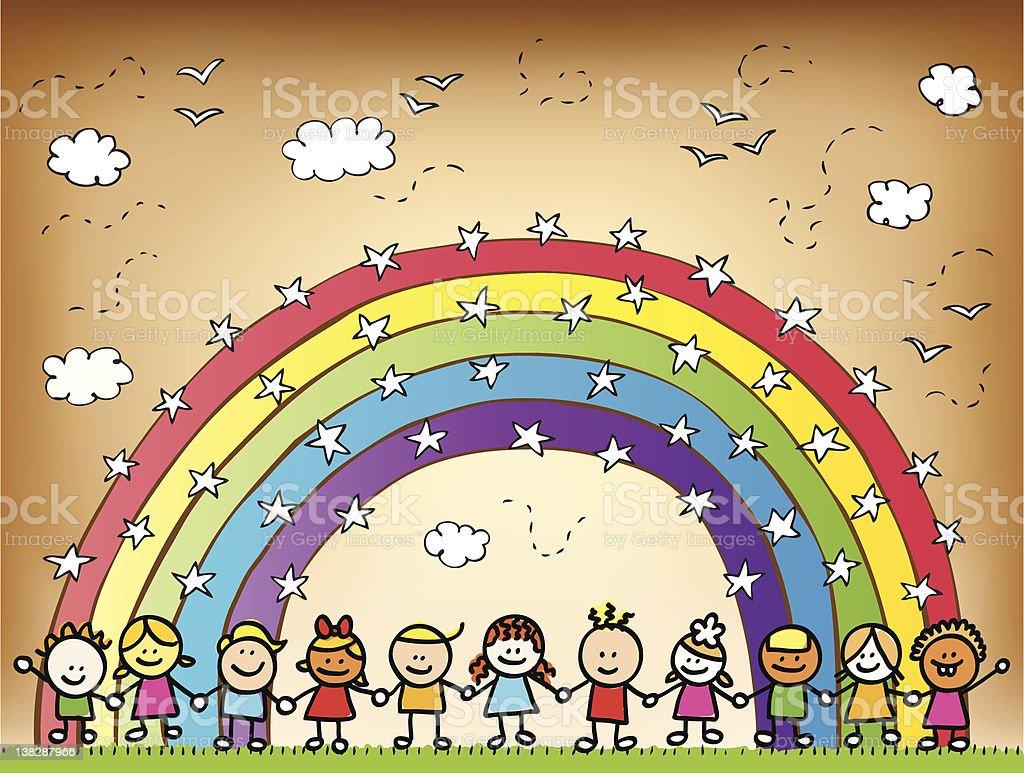 Dessin Avec La Main heureux enfants tenant mains dans la nature en dessin animé