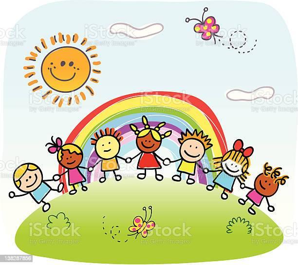 Happy children holding hands playing outside springsummer nature vector id138287856?b=1&k=6&m=138287856&s=612x612&h=dumdo9jnpib2f vdb1sv0pdduvjhigagkle9h2gu5nq=