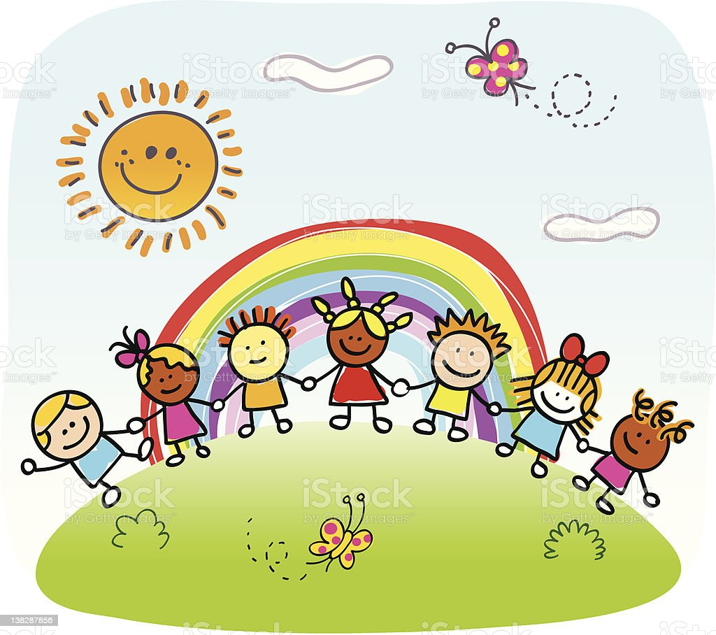 happy children holding hands, jugando fuera de primavera, verano naturaleza de historieta - ilustración de arte vectorial