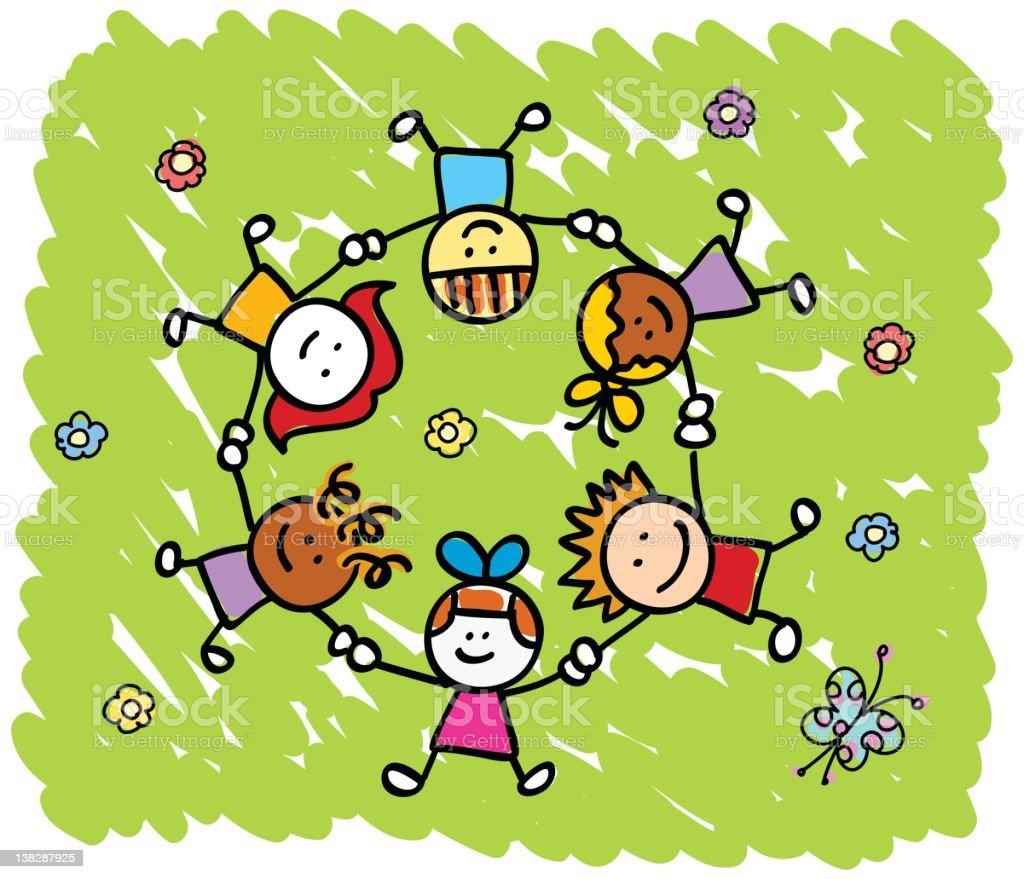 Happy Children Holding Hands Playing Outside Springsummer ...