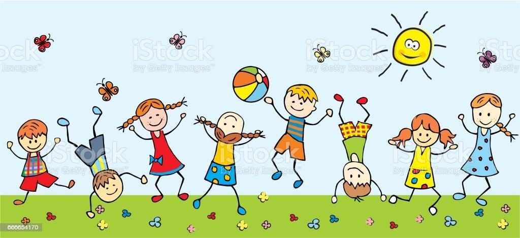 happy children in a meadow vector art illustration
